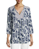 3/4-Sleeve Floral-Print Peasant Top