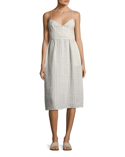 Melaena B Narrow-Stripe Linen Sundress, white