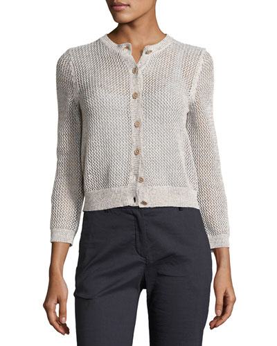 Tamvi Netted Cardigan Sweater, Beige