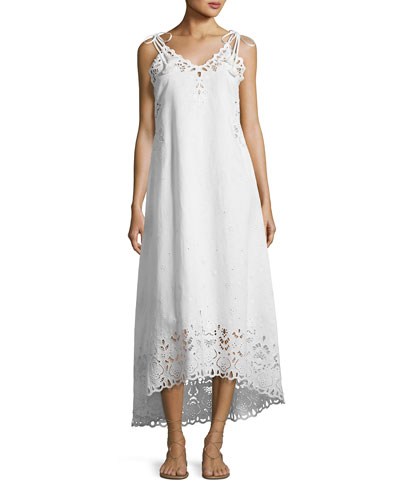 Taytee Sleeveless Embroidered Maxi Dress, White