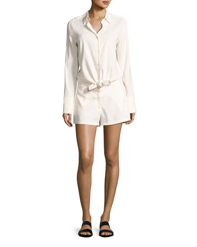 Ranay Crunch Wash Long-Sleeve Romper, White
