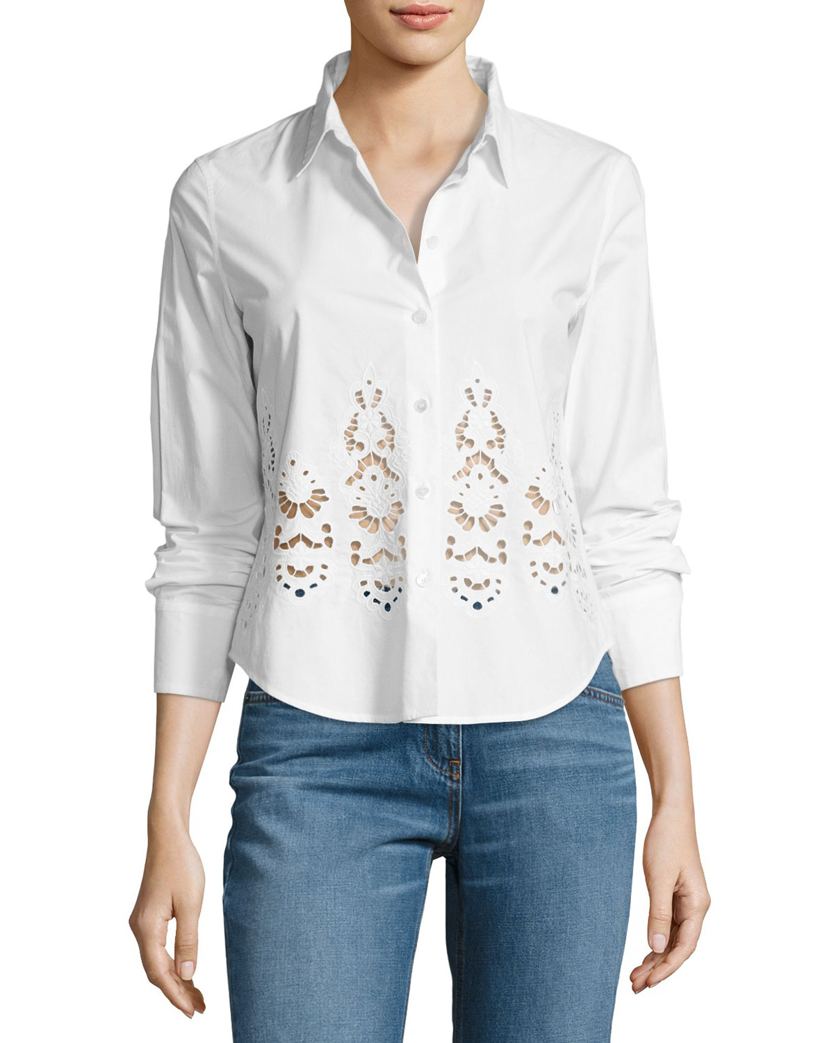 Weylend Poplin Embroidered Eyelet Shirt, White