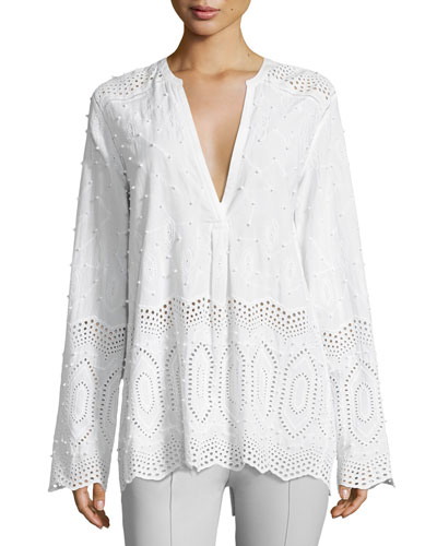 Ofeliah Eyelet Indian Cotton Blouse, White