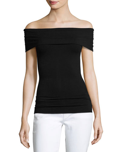 Sabrynna Off-the-Shoulder Tubular Top, Black
