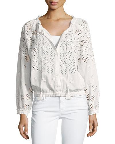 Maryana Vintage Eyelet Jacket, White