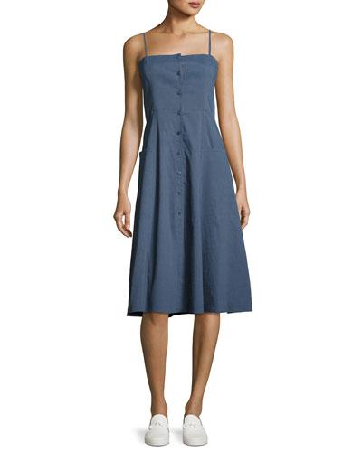 Kayleigh Button-Front Midi Sun Dress, Blue