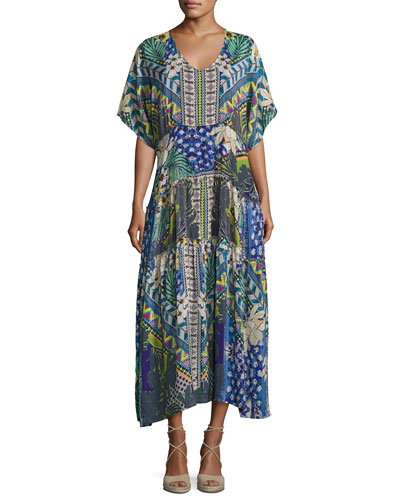 Short-Sleeve Mixed-Print Maxi Dress