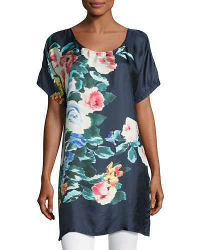 Bayla Long Floral-Print Silk Tunic, Navy