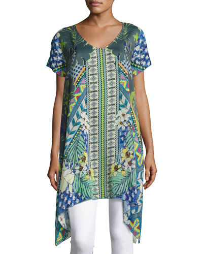 Malania Short-Sleeve V-Neck Tunic, Plus Size
