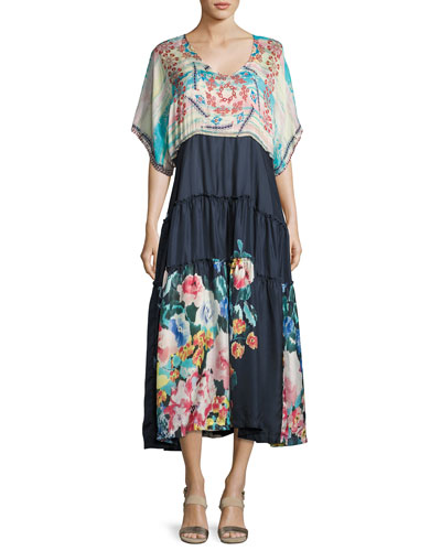 Mixed-Print Short-Sleeve Maxi Dress