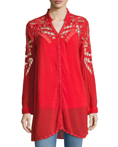 Diamond Eyelet Georgette Tunic, Plus Size