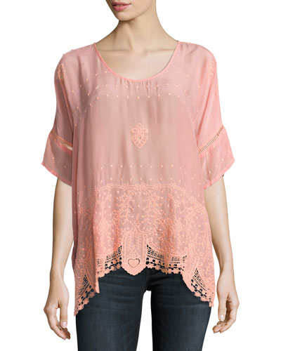 Princess Short-Sleeve Georgette Top, Coral Sunset
