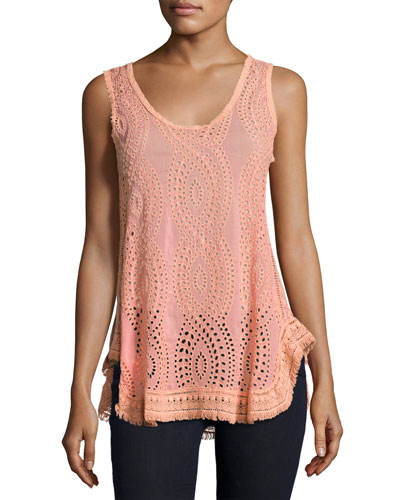 Hoxie Sleeveless Eyelet Tank, Coral Sunset, Plus Size
