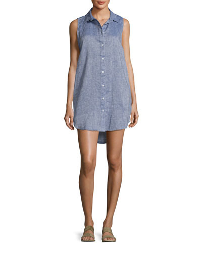 Kaylee Sleeveless Chambray Tunic Dress, Blue