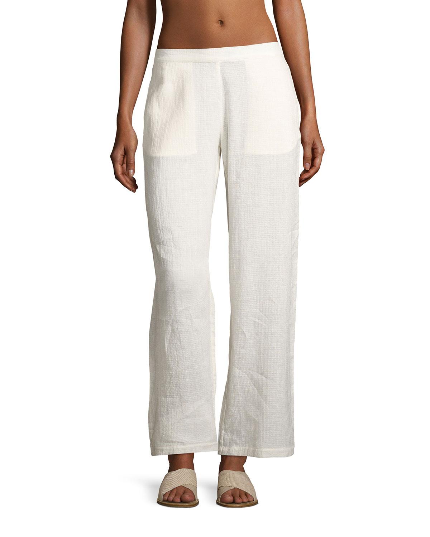 Mila Wide-Leg Coverup Pants, White