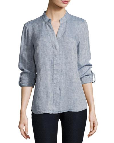 Drifty Linen Button-Front Top, Plus Size