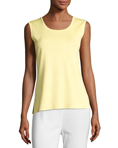 Sleeveless Long Tank, Yellow, Plus Size