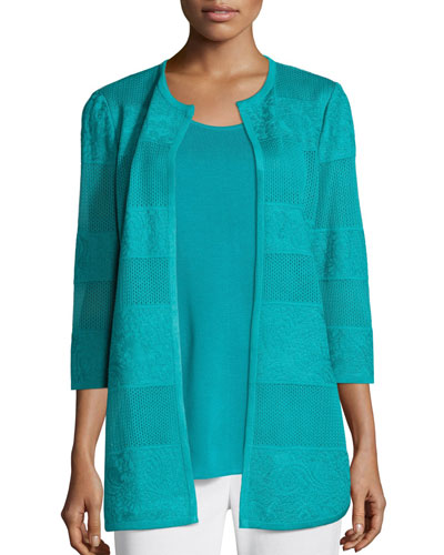 Plus Size Textured Lines Long Jacket, Turquoise