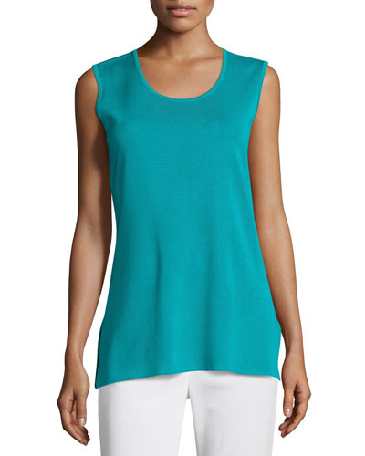 Solid Knit Tank, Turquoise, Plus Size
