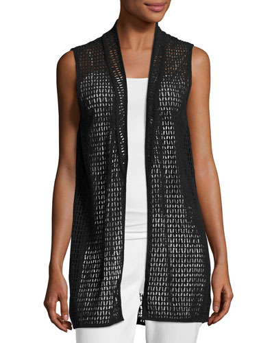 Cotton Lace Vest, Black, Plus Size