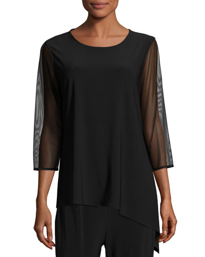 Mesh-Sleeve Angled Top, Black, Petite