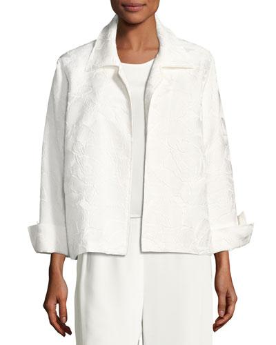 Jasmine Floral Jacquard Jacket, White, Petite