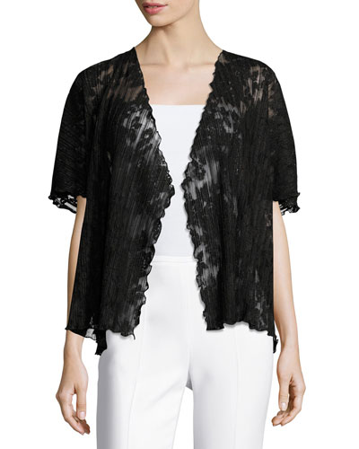 Short-Sleeve Pleated Lace Crop Cardigan, Black, Plus Size