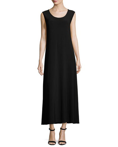 Sleeveless Knit Long Dress, Plus Size