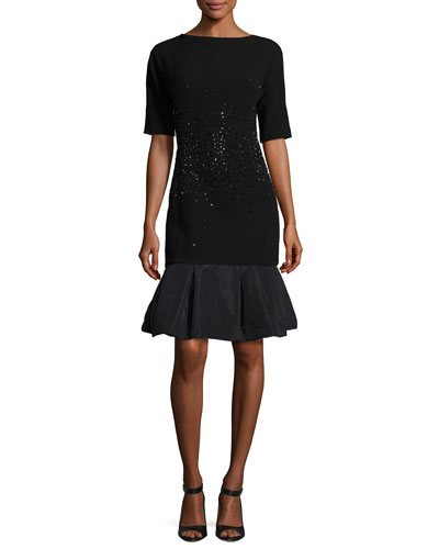Embellished Crepe & Taffeta Cocktail Dress, Black