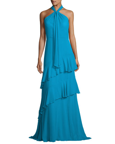 Sleeveless Tiered Silk Chiffon Gown, Blue