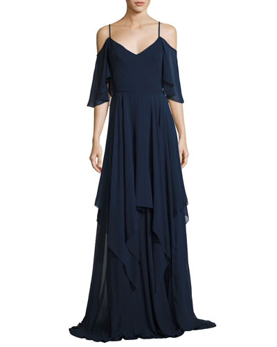 Cold-Shoulder Silk Georgette Gown, Blue