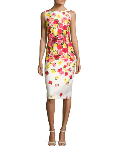 Sleeveless Ombre Floral Sheath Dress, Red/Multicolor
