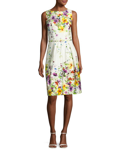 Sleeveless Belted Floral Stretch Poplin Dress, White/Multicolor