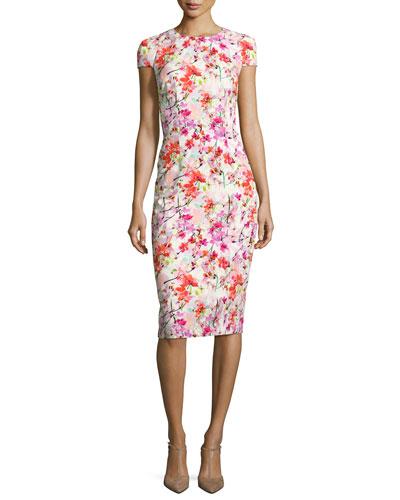Cap-Sleeve Floral Ponte Sheath Dress, Pink