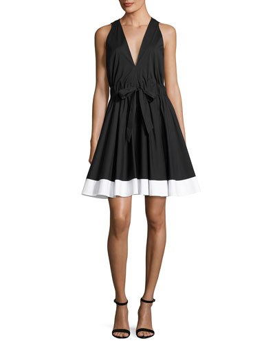 Lola Sleeveless Colorblocked Poplin Dress, Black/White