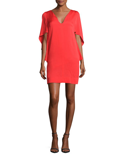 Beetle Stretch-Silk Slim Minidress, Red