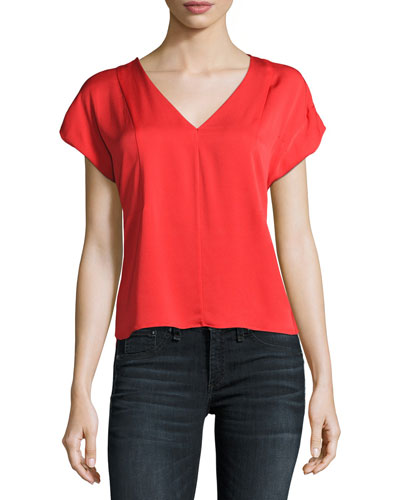 V-Neck Seamed Stretch-Silk Blouse, Red