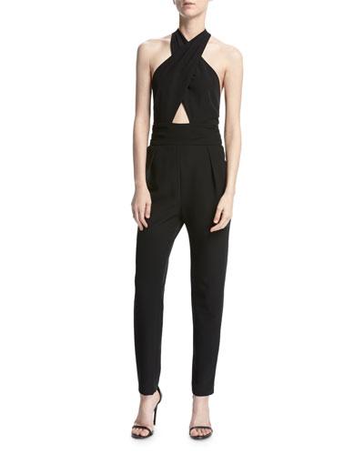 Nicole Italian Cady Halter Jumpsuit, Black