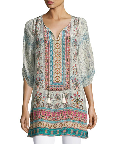 Evie Long Printed Tunic, Ivory, Plus Size