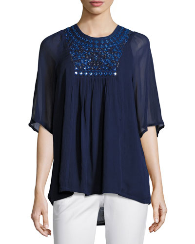 Heather Embroidered & Sequined Tunic, Navy