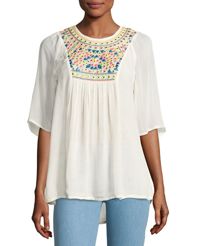 Heather Embroidered & Sequined Tunic, White, Plus Size