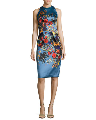 Sleeveless Floral Satin Cocktail Dress, Blue