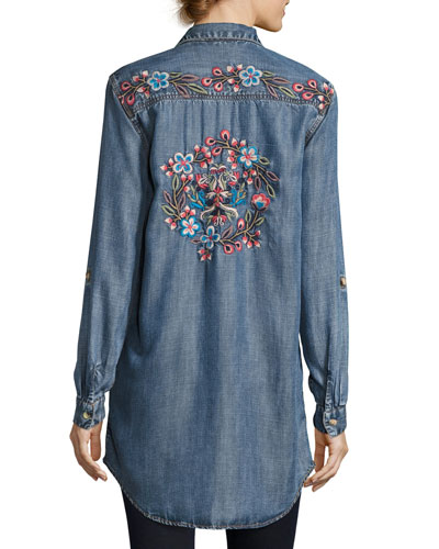 Tina Embroidered-Back Button-Front Shirt, Plus Size