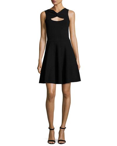 Sleeveless Twist Fit-&-Flare Dress, Black