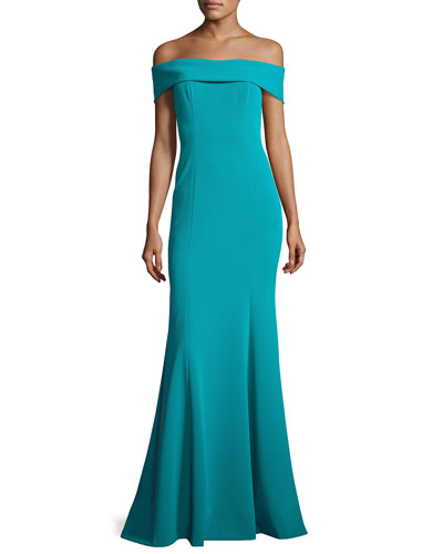 Off-the-Shoulder Stretch Crepe Gown, Teal