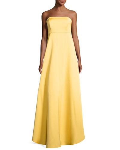 Tegan Strapless Satin Gown, Mimosa