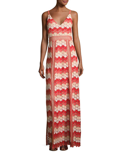 Misty Sleeveless Scalloped Lace Gown, Coral