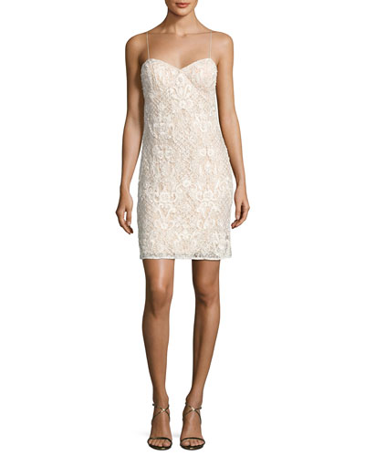 Sleeveless Beaded Lace Bustier Cocktail Dress, Ivory