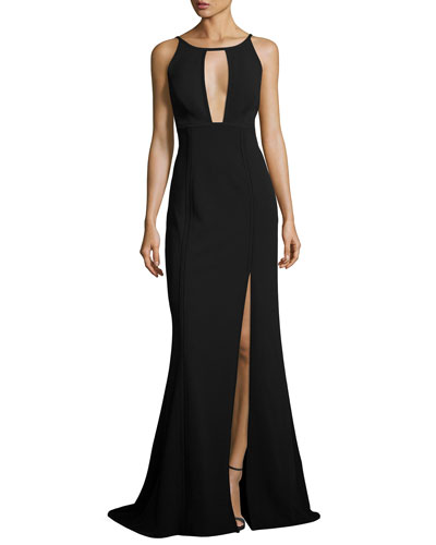 Sleeveless Paneled Ponte Gown, Black