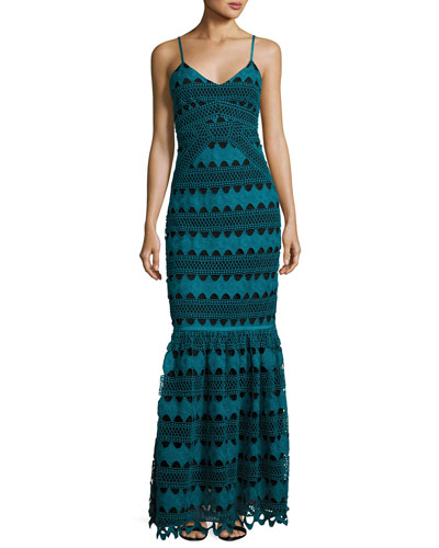 Sandra Sleeveless Macrame Gown, Blue